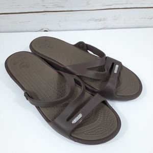 Crocs Patricia Slide Wedge Sandal Brown/Tan